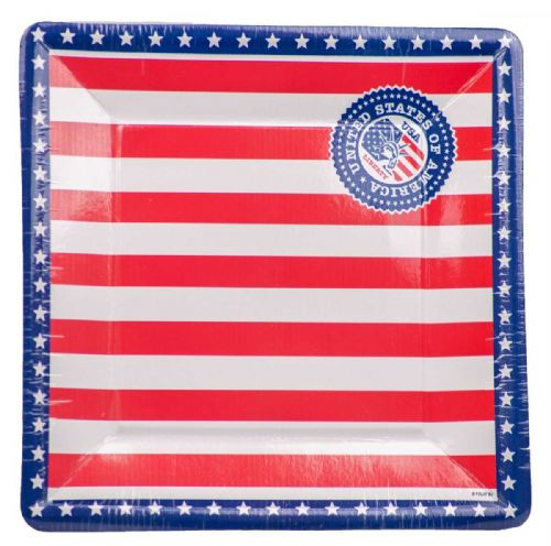 USA Party Plates 25cm Square 8's United States of America